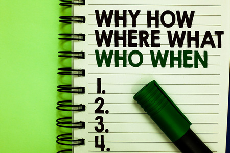 Handwriting text Why How Where What Who When. Concept meaning Questions to find solutions Query Asking Written letters and numbers on notepad laid green marker green back