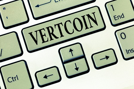 Word writing text Vertcoin. Business concept for Cryptocurrency Blockchain Digital currency Tradeable token.