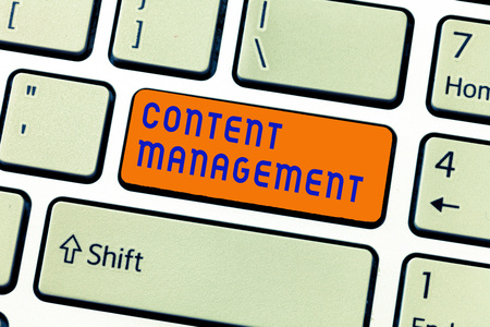 Writing note showing Content Management. Business photo showcasing Process that collects manage and publish information.