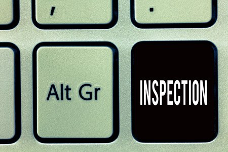 Writing note showing Inspection. Business photo showcasing Careful examination or scrutiny Investigation Review Evaluation. Banco de Imagens