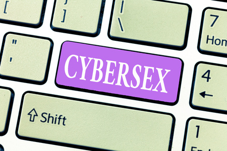Conceptual hand writing showing Cybersex. Business photo showcasing sexual arousal using computer technology by wearing vr equipment. Stock Photo