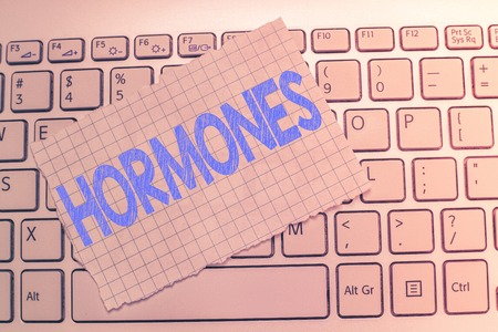 Writing note showing Hormones. Business photo showcasing regulatory substance produced in organism transported tissue fluids.