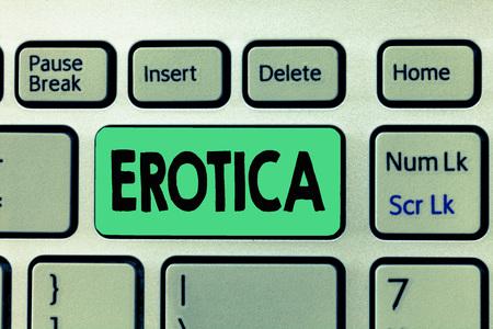 Handwriting text writing Erotica. Concept meaning Books pictures produce sexual desire pleasure Erotic literature art. Stock Photo