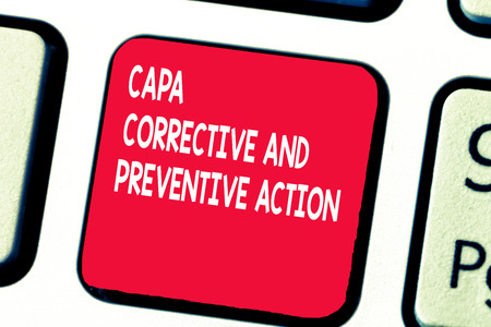 Conceptual hand writing showing Capa Corrective And Preventive Action. Business photo text Elimination of nonconformities.