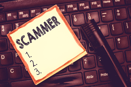 Text sign showing Scammer. Conceptual photo Someone who makes money by tricking showing Crime Fraud Thief.
