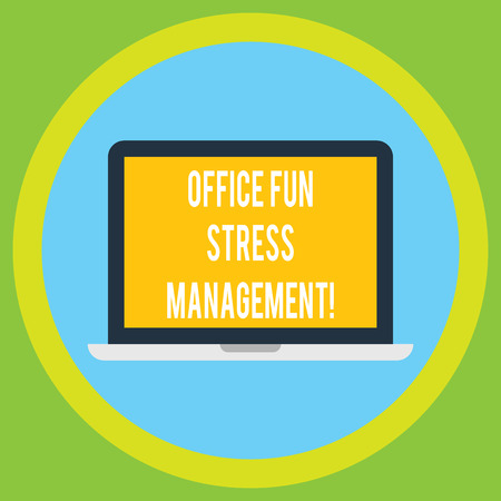 Handwriting text Office Fun Stress Management. Concept meaning Relax leisure time at work relaxing moments Laptop Monitor Personal Computer Device Tablet Blank Screen for Text Space Фото со стока
