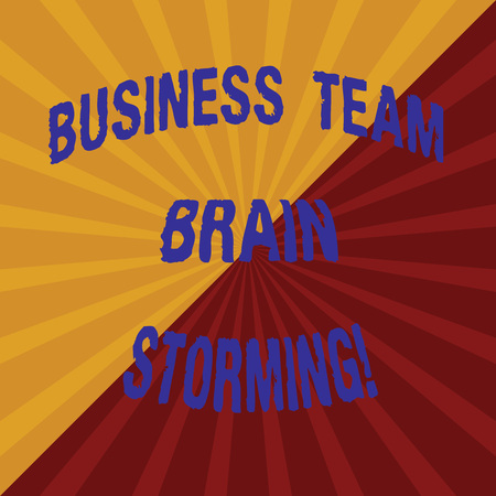 Word writing text Business Team Brain Storming. Business concept for Team work corporate group working meeting Two Tone Sunburst Ray Divided by Diagonal Line Explosion Effect photo
