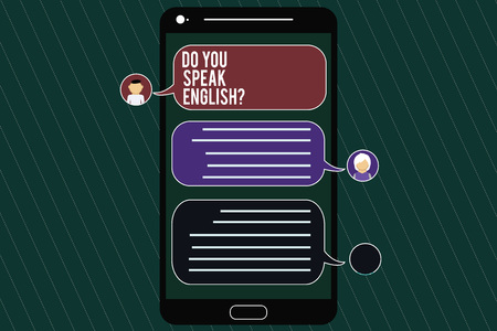 Word writing text Do You Speak Englishquestion. Business concept for Speaking learning different languages Mobile Messenger Screen with Chat Heads and Blank Color Speech Bubbles 스톡 콘텐츠