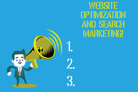 Word writing text Website Optimization And Search Marketing. Business concept for Search engine optimization Man in Suit Earpad Standing Moving Holding a Megaphone with Sound icon Stok Fotoğraf