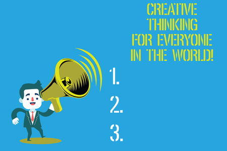 Word writing text Creative Thinking For Everyone In The World. Business concept for Spread creativity to others Man in Suit Earpad Standing Moving Holding a Megaphone with Sound icon Foto de archivo