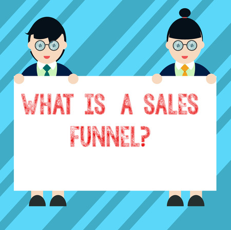 Text sign showing What Is A Sales Funnelquestion. Conceptual photo Explain a marketing advertising method Male and Female in Uniform Standing Holding Blank Placard Banner Text Space