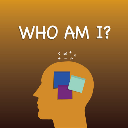 Writing note showing Who Am I question. Business photo showcasing when being asked about your name status and nationality Sticky Note analysis Face Profile Silhouette Math sign above Banque d'images - 112856886