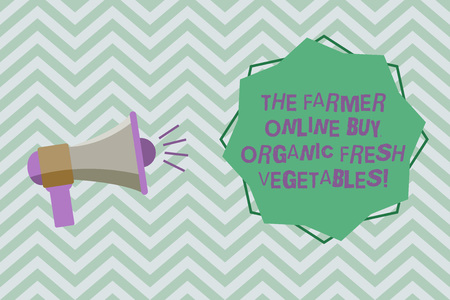 Text sign showing The Farmer Online Buy Organic Fresh Vegetables. Conceptual photo Purchase healthy food Megaphone with Sound Volume Effect icon and Blank 8 Pointed Star shape