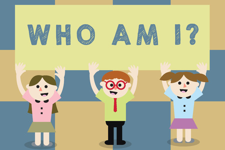 Conceptual hand writing showing Who Am I question. Business photo text when being asked about your name status and nationality School Kids with Arms Raising up are Singing Smiling Talking Banque d'images - 112857601