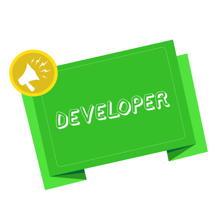 Writing note showing Developer. Business photo showcasing demonstrating or thing that develops grows or matures something Megaphone Shouting in circle and Tilting Blank Folded Strip