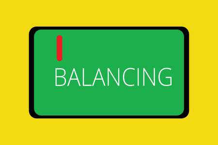 Word writing text Balancing. Business concept for put something in a steady position so that it does not fall Tablet Mobile Smartphone Cellular Device Screen with red linear button