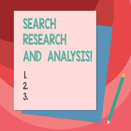 Writing note showing Search Research And Analysis. Business photo showcasing Investigation data information analytics Stack of Different Pastel Color Construct Bond Paper Pencil