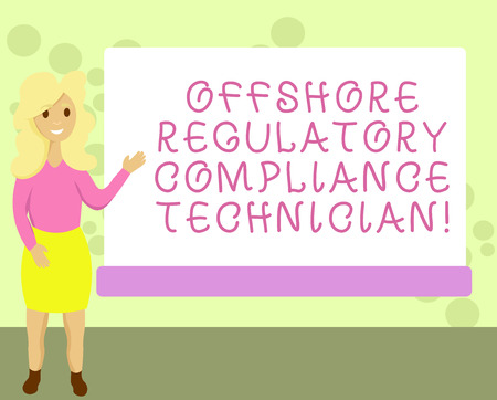Conceptual hand writing showing Offshore Regulatory Compliance Technician. Business photo showcasing Oil and gas industry engineering Female Hu analysis Presenting Rectangular Blank Whiteboard Imagens