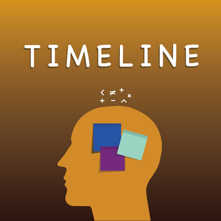 Writing note showing Timeline. Business photo showcasing graphical representation of period time on which events are marked Sticky Note analysis Face Profile Silhouette Math sign above