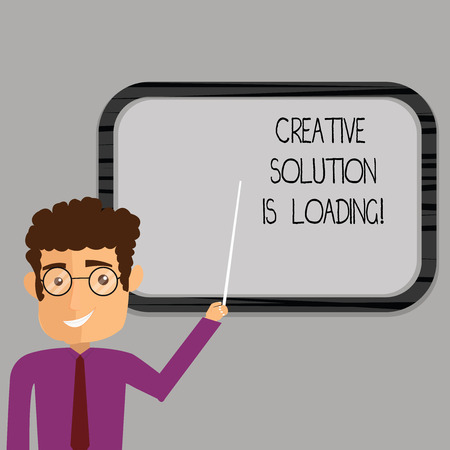 Writing note showing Creative Solution Is Loading. Business photo showcasing Inspiration Original ideas in process Man Standing Holding Stick Pointing to Wall Mounted Blank Color Board Stock Photo