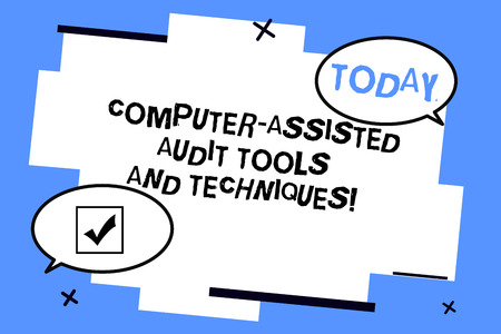 Word writing text Computer Assisted Audit Tools And Techniques. Business concept for Modern auditing applications Two Blank Oval speech bubble at distance and Tail facing opposite direction