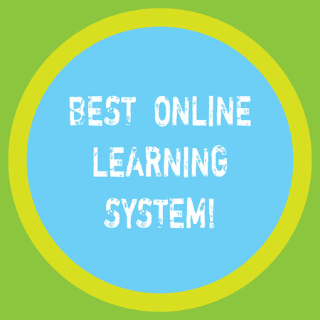 Conceptual hand writing showing Best Online Learning System. Business photo showcasing Top high quality elearning techniques Big Circle Inside Another Round Shape with Border text Space