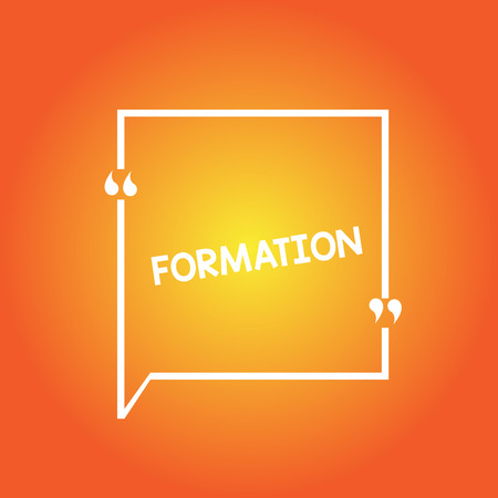 Handwriting text Formation. Concept meaning action of forming or process of being formed especially sport Blank Square Border Outline Quote Bubble with Quotation Mark Punctuation