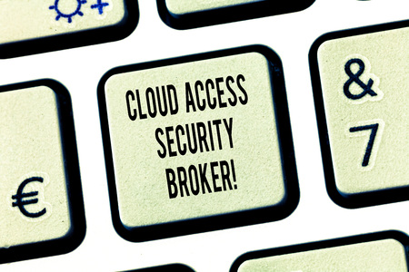 Conceptual hand writing showing Cloud Access Security Broker. Business photo text Safety business trading modern file storage Keyboard key Intention to create computer message idea