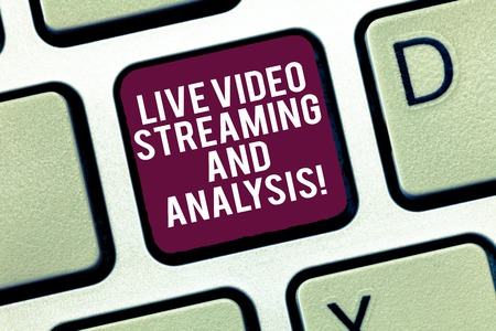 Conceptual hand writing showing Live Video Streaming And Analysis. Business photo text Marketing advertising content strategy Keyboard Intention to create computer message keypad idea Stockfoto