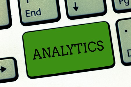 Conceptual hand writing showing Analytics. Business photo showcasing systematic computational analysis of data statistics or infos Keyboard Intention to create computer message keypad idea