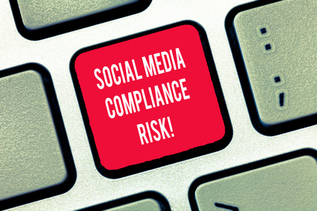 Writing note showing Social Media Compliance Risk. Business photo showcasing Risks analysisagement on the internet online sharing Keyboard Intention to create computer message keypad idea