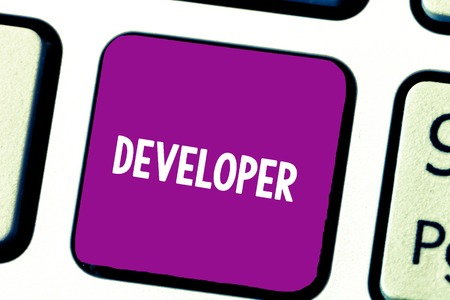Text sign showing Developer. Conceptual photo demonstrating or thing that develops grows or matures something Keyboard key Intention to create computer message, pressing keypad idea
