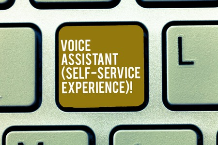 Text sign showing Voice Assistant Self Service Experience. Conceptual photo Artificial intelligence chat bot Keyboard key Intention to create computer message, pressing keypad idea