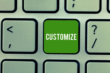 Conceptual hand writing showing Customize. Business photo showcasing modify something to suit particular individual task or demonstrating Keyboard Intention to create computer message keypad idea Stock Photo