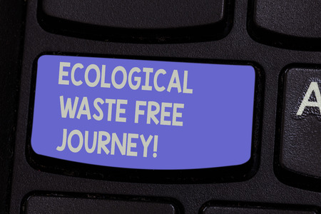 Text sign showing Ecological Waste Free Journey. Conceptual photo Environment protection recycling reusing Keyboard key Intention to create computer message pressing keypad idea