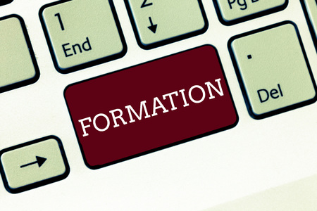 Handwriting text Formation. Concept meaning action of forming or process of being formed especially sport Keyboard key Intention to create computer message, pressing keypad idea