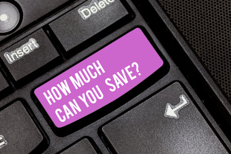 Conceptual hand writing showing How Much Can You Savequestion. Business photo showcasing Money available for investing Finances balance Keyboard key Intention to create computer message idea Stock fotó