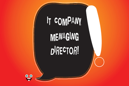 Handwriting text writing It Company Managing Director. Concept meaning Professional information technology boss Blank Color Speech Bubble Outlined with Exclamation Point Monster Face icon Фото со стока