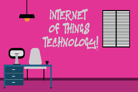 Writing note showing Internet Of Things Technology. Business photo showcasing IT modern technologies online network Minimalist Interior Computer and Study Area Inside a Room 스톡 콘텐츠