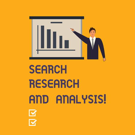 Writing note showing Search Research And Analysis. Business photo showcasing Investigation data information analytics Man in Business Suit Pointing a Board Bar Chart Copy Space