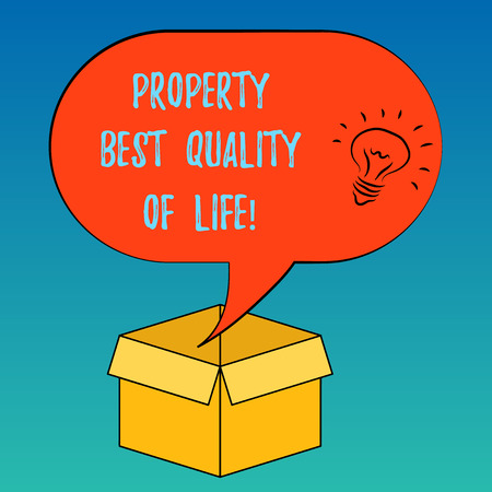 Handwriting text Property Best Quality Of Life. Concept meaning Purchasing your own house apartment space Idea icon Inside Blank Halftone Speech Bubble Over an Open Carton Box