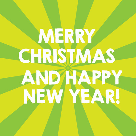 Handwriting text Merry Christmas And Happy New Year. Concept meaning Holiday season greetings celebrations Sunburst photo Two Tone Explosion Effect for Announcement Poster Ads