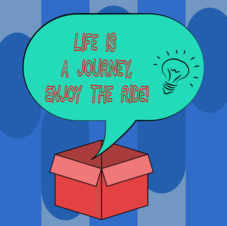 Handwriting text Life Is A Journey Enjoy The Ride. Concept meaning Enjoying things that happen everyday Idea icon Inside Blank Halftone Speech Bubble Over an Open Carton Box 版權商用圖片