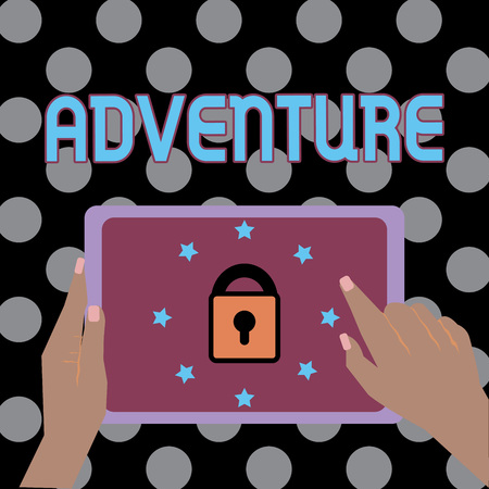 Conceptual hand writing showing Adventure. Business photo text unusual and exciting daring experience made by one or team Female Hand Tablet device with lock and stars icon on screen