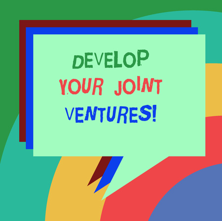 Conceptual hand writing showing Develop Your Joint Ventures. Business photo text Business partnership cooperation growing Stack of Speech Bubble Different Color Piled Text Balloon Фото со стока