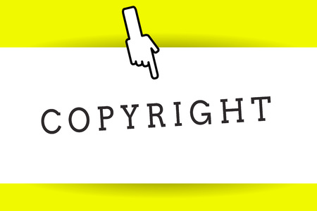 Conceptual hand writing showing Copyright. Business photo showcasing exclusive and assignable legal right given to originator Back of right Hand Index pointing downward Thumb showing