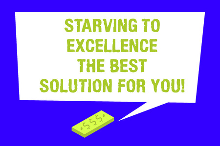 Writing note showing Starving To Excellence The Best Solution For You. Business photo showcasing Make things perfect Rectangular Speech Bubble with Tail pointing to Dollar Paper Bill