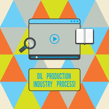 Text sign showing Oil Production Industry Process. Conceptual photo Petroleum company industrial processing Tablet Video Player Uploading Downloading and Magnifying Glass Text Space Stock Photo