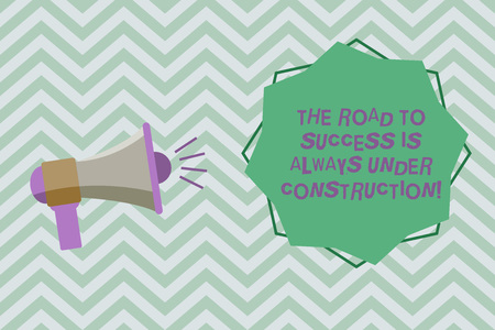 Text sign showing The Road To Success Is Always Under Construction. Conceptual photo In continuous improvement Megaphone with Sound Volume Effect icon and Blank 8 Pointed Star shape Reklamní fotografie