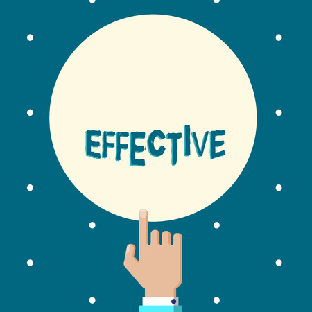 Word writing text Effective. Business concept for successful in producing desired or intended result productive Male Hu analysis Hand Pointing up Index finger Touching Solid Color Circle Stock Photo
